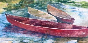 Three Boats watercolor on paper
