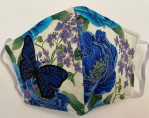 Butterfly on Blue Floral